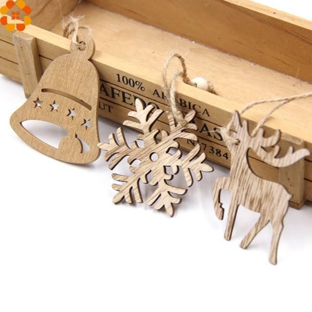 DIY Christmas Snowflakes Deer Tree Wooden Pendants Ornaments