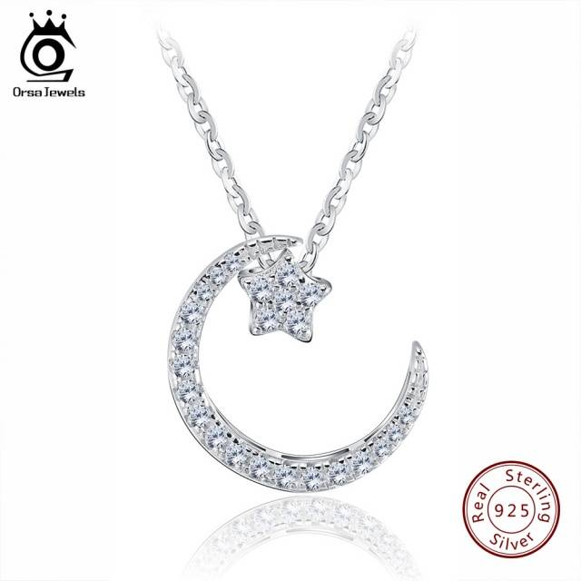 Sterling Silver Moon Star Pendant Necklace with Austrian Crystals