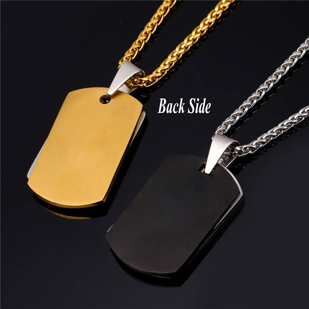 Christian Cross Dog Tag Stainless Steel Men's Necklace