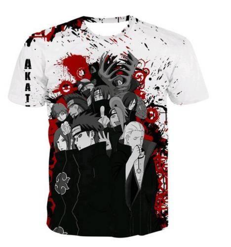Anime Naruto Akatsuki Short Sleeve 3D Print T-Shirt Unisex