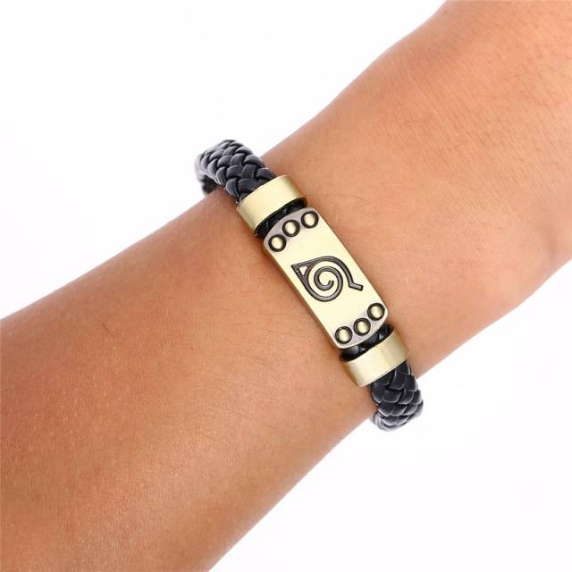 Anime Naruto Weave Leather Bracelet Leaf Village & Bangle