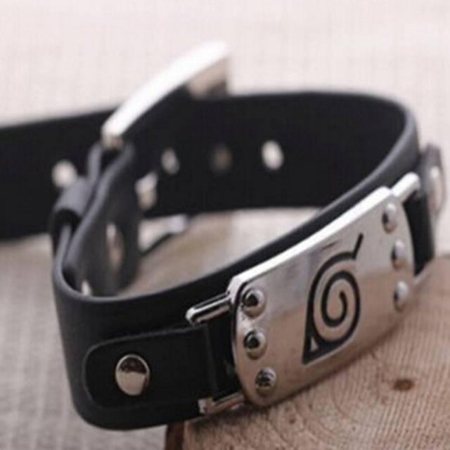 Anime Naruto Konoha Symbol  Silver Alloy and Leather Bracelet