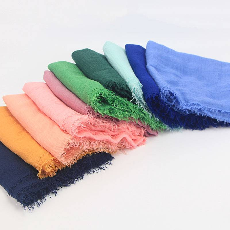 Cotton Bubble Plain Wrinkle Hijab Scarf with Fringes