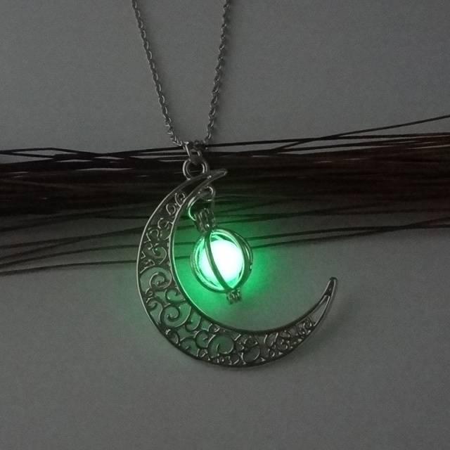 Women's Shine Moon Charm Luminous Stone Necklace