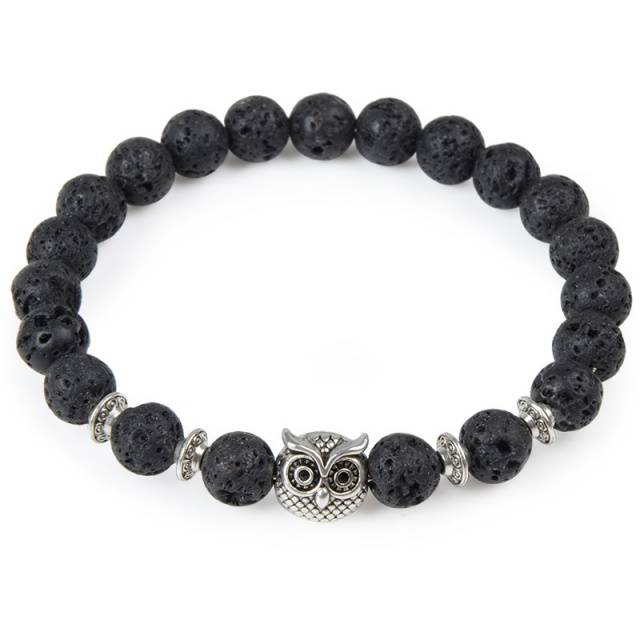 Natural Stone and Beads Bracelet with Owl Leopard Lion Charm