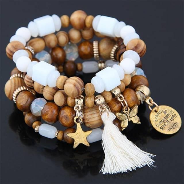 Natural Wood Beads Charm Bracelets Ethnic Style