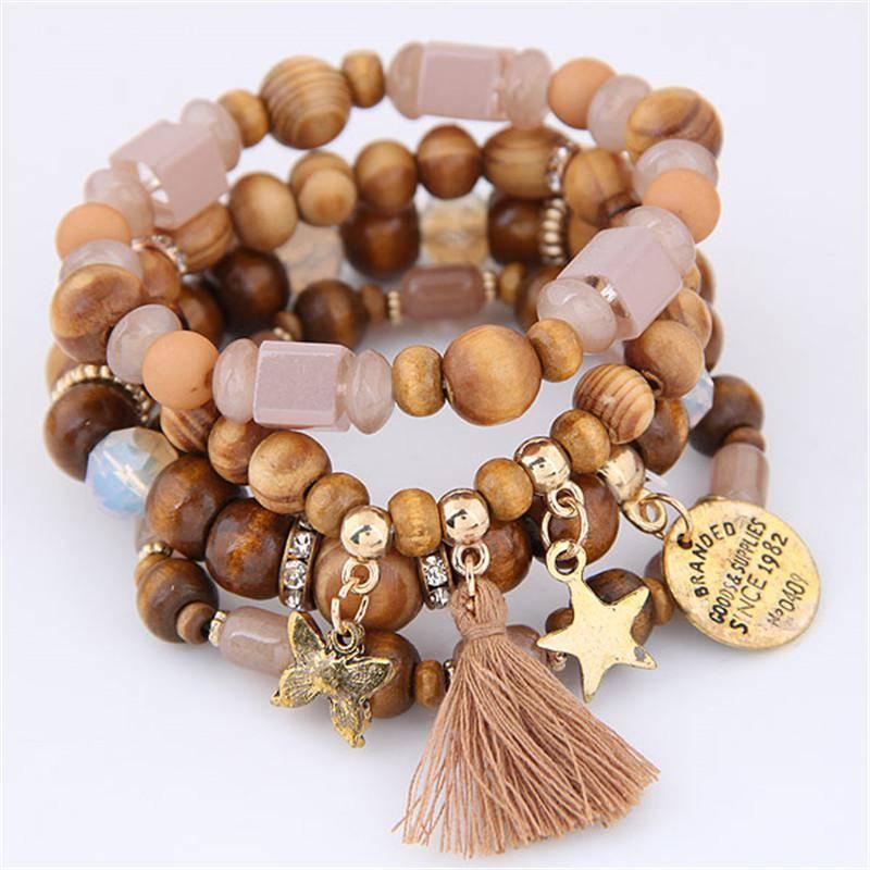 Wood Beads Charm Bracelets