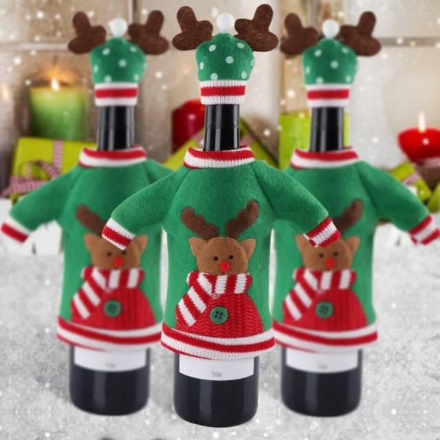 Christmas Ugly Sweaters Red Wine Bottle Covers Set of 3