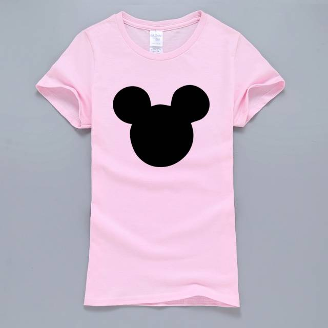 Mickey Mouse Head Printed Women's Cotton T-Shirt